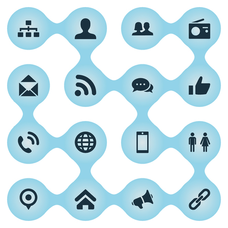 Vector Illustration Set Of Simple Social Icons. Elements Partner, Structure, Thumb And Other Synonyms Mail, Talking And Smartphone.