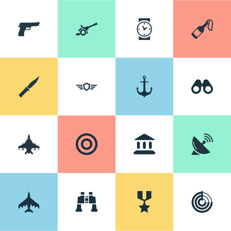 Vector Illustration Set Of Simple Army Icons. Elements Radio Locator, Howitzer, Sky Force And Other Synonyms Force, Cannon And Medal.