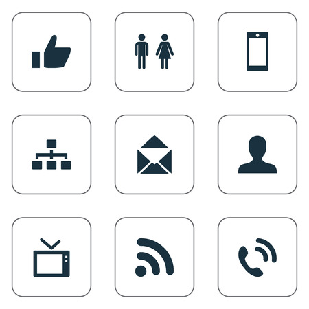 Vector Illustration Set Of Simple Communication Icons. Elements Member, Telly, Smartphone And Other Synonyms Wave, Thumb And Man.