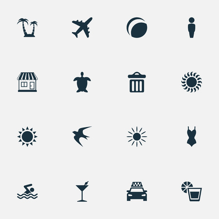 Vector Illustration Set Of Simple Seaside Icons. Elements Sun, Palm, Airplane And Other Synonyms Cocktail, Pool And Sun.