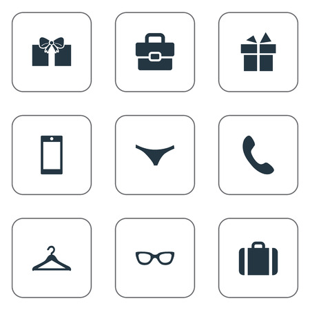 Vector Illustration Set Of Simple Accessories Icons. Elements Eyeglasses, Briefcase, Underwear And Other Synonyms Hook, Diplomat And Mobile.