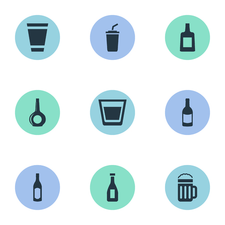 Vector Illustration Set Of Simple Water Icons. Elements Plastic Mug, Cup, Bottle And Other Synonyms Glass, Party And Pint.
