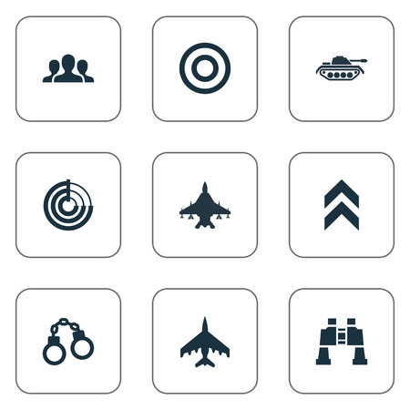 Vector Illustration Set Of Simple War Icons. Elements Manacles, Target, Radio Locator And Other Synonyms Handcuffs, Tank And Company.