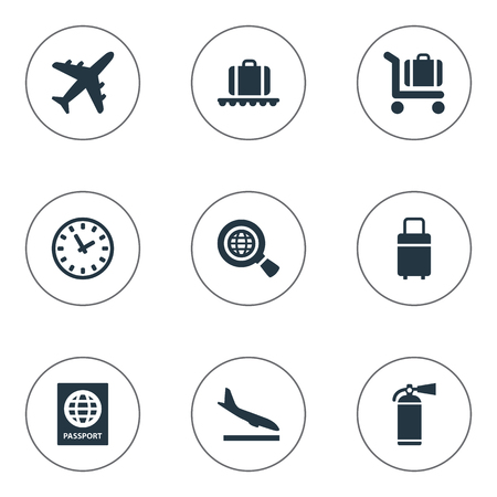 Vector Illustration Set Of Simple Transportation Icons. Elements Plane, Travel Bag, Global Research And Other Synonyms Luggage, Extinguisher And Earth. Illustration