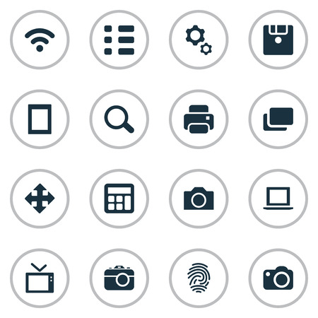 Vector Illustration Set Of Simple Hardware Icons. Elements Schedule, Wireless Connection, Touch Computer And Other Synonyms Computer, Report And Settings. Иллюстрация