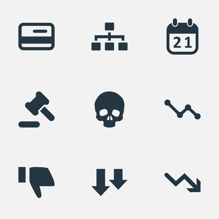 chronology: Vector Illustration Set Of Simple Situation Icons. Elements Finger Below, Graph Decreases, Head Bone And Other Synonyms Descending, Reminder And Arrow.