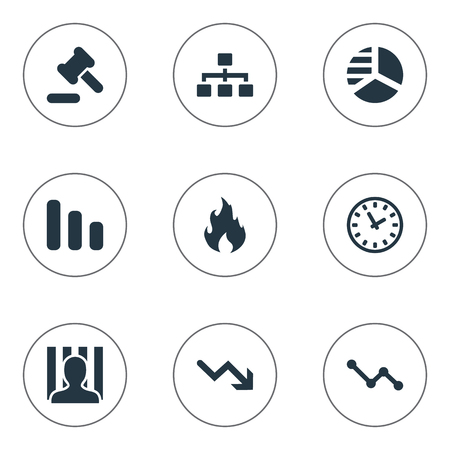 Vector Illustration Set Of Simple Situation Icons. Elements Clock, Net, Penitentiary And Other Synonyms Circle, Law And Hammer. Illustration