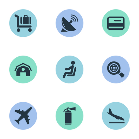 벡터 일러스트 레이 션 간단한 비행기 아이콘의 집합입니다. 비행기, 좌석, 안테나 및 다른 동의어를 하강하는 요소 위성, 보호 및 고원.