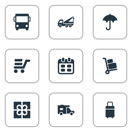 Vector Illustration Set Of Simple Carting Icons. Elements Gingham, Day, Pushcart And Other Synonyms Eviction, Ribbon And Autobus. Stock Vector - 75267558