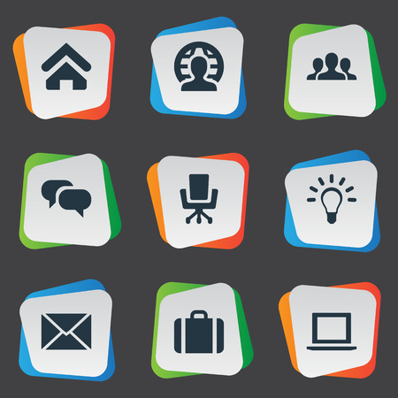Vector Illustration Set Of Simple Business Icons. Elements Group, Chatting, Computer And Other Synonyms Group, Office And Handbag. Illustration