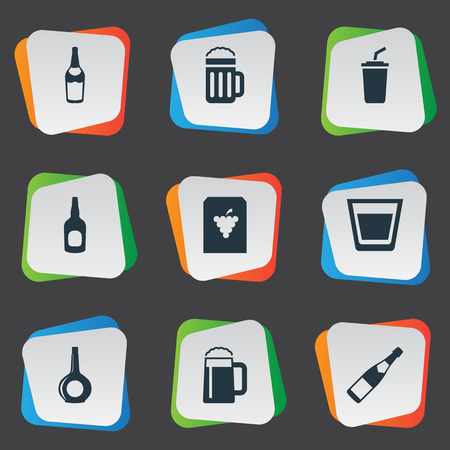 Vector Illustration Set Of Simple Beverage Icons. Elements Wine, Alcohol, Plastic Mug And Other Synonyms Party, Wine And Vine.