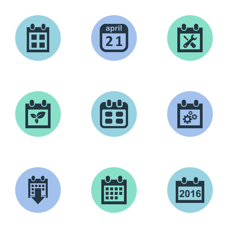almanac: Vector Illustration Set Of Simple Date Icons. Elements Plant, 2016 Calendar, Reminder And Other Synonyms Repair, Reminder And Almanac. Illustration