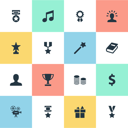 won: Vector Illustration Set Of Simple Champ Icons. Elements Miracle, Literature, User And Other Synonyms Champion, Trophy And Prize. Illustration