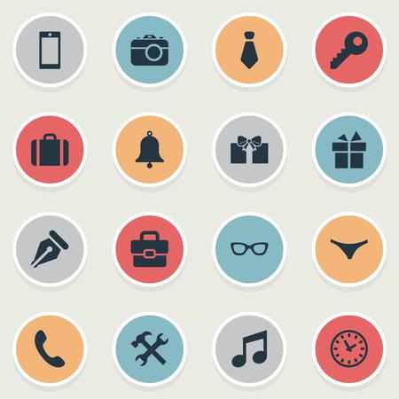 Vector Illustration Set d'icônes instrument simple. Elements Time, sous-vêtements, porte-documents et autres synonymes Appel, clé et montre. Banque d'images - 75267630