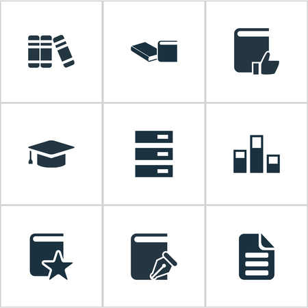 Vector Illustration Set Of Simple Books Icons. Elements Letter, List, Special And Other Synonyms Archive, Library And Hat.
