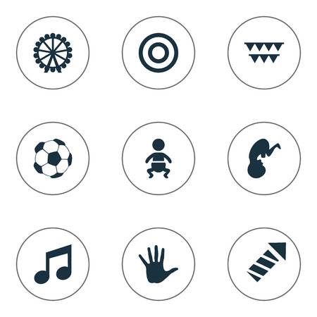 Vector Illustration Set Of Simple Baby Icons. Elements Soccer, Melody, Sparkler And Other Synonyms Baby, Embryo And Football.