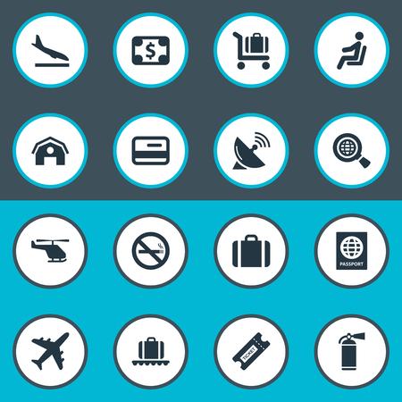 シンプルな空港のアイコンのベクトル イラスト セット。要素のハンドバッグ、タバコ禁止、シート類義語飛行機着陸とクーポン。