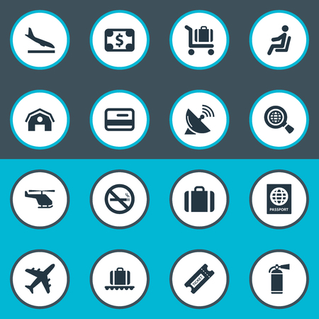 Vector Illustration Set Of Simple Airport Icons. Elements Handbag, Cigarette Forbidden, Seat Synonyms Plane, Landing And Coupon.