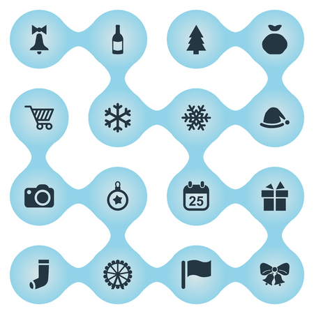Vector Illustration Set Of Simple Christmas Icons. Elements Christmas Decoration, Drink Bottle, Calendar And Other Synonyms Snow, Present And Shopping. Illustration