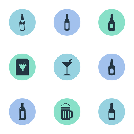 Vector Illustration Set Of Simple Beverage Icons. Elements Beer, Cognac, Bottle And Other Synonyms Cocktail, Pub And Club. Illustration