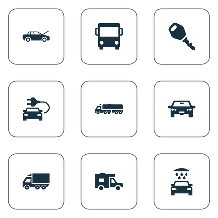 Vector Illustration Set Of Simple Auto Icons. Elements Key, Car Charging, Van And Other Synonyms Trucking, Motorcar And Transportation. Illustration