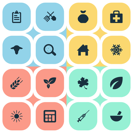 Vector Illustration Set Of Simple Agricultural Icons. Elements Snowflake, Wheat, Virus And Other Synonyms List, Information And House. Illustration