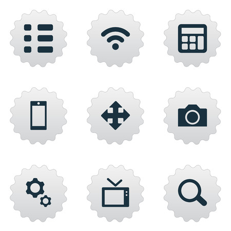 Vector Illustration Set Of Simple Gadget Icons. Elements Television, Wireless Connection, Adding Device And Other Synonyms Cal, Wifi And Report.