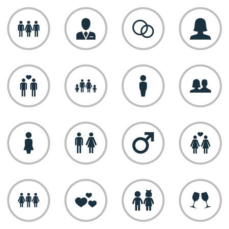 Ilustración vectorial Conjunto de iconos amados simples. Elements Wineglass, Mates, Lineage y otros abogados de sinónimos, hombres y caballeros. Foto de archivo - 75267698