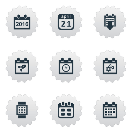 almanac: Vector Illustration Set Of Simple Plan Icons. Elements Remembrance, Planner, Almanac And Other Synonyms April, Watch And Almanac. Illustration