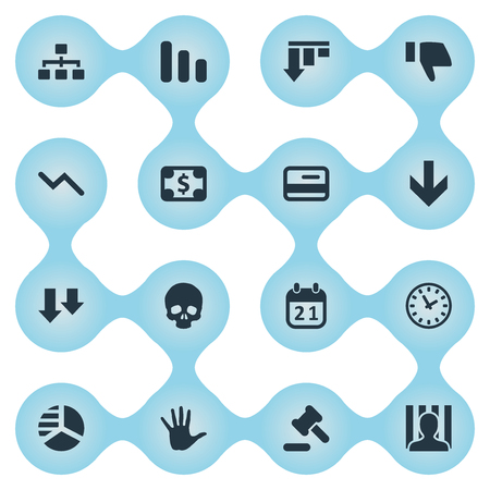 Vector Illustration Set Of Simple Impasse Icons. Elements Penitentiary, Finger Below, Down Cursor And Other Synonyms Reminder, Thumb And Relationship.