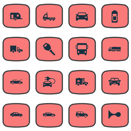 Vector Illustration Set Of Simple Car Icons. Elements Van, Camion, Shipment And Other Synonyms Van, Key And Lock.
