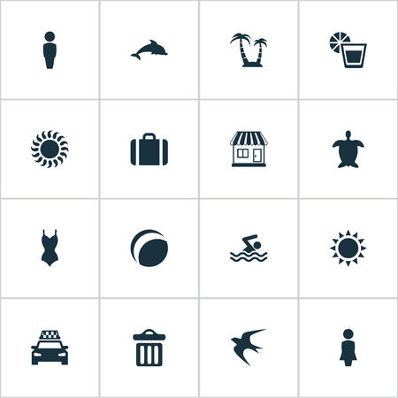 Vector Illustration Set Of Simple Seaside Icons. Elements Taxi, Bikini, Garbage And Other Synonyms Sea, Mammalian And Cab. Illustration