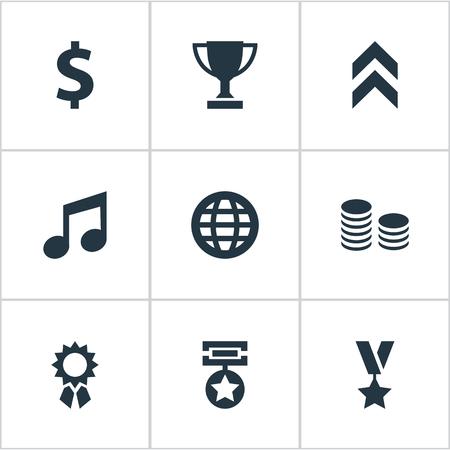 벡터 일러스트 레이 션 간단한 상품 아이콘의 집합입니다. 요소 트로피, 돈, 멜로디 및 기타 동의어 그래픽, 다이어그램 및 달성합니다.