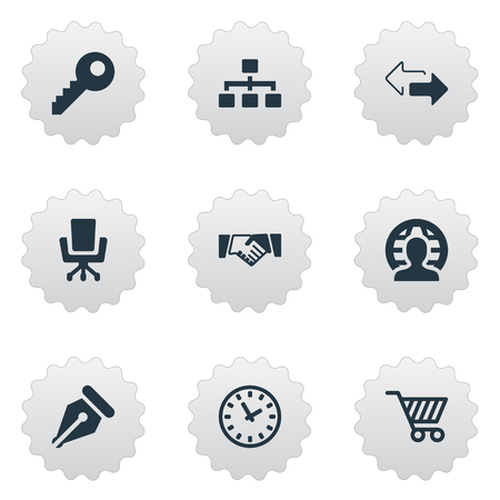 Vector Illustration Set Of Simple Business Icons. Elements Clock, Work Seat, Relationship And Other Synonyms Chair, Ink And Pen. Illustration
