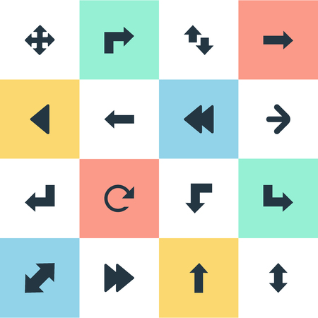 signing: Vector Illustration Set Of Simple Indicator Icons. Elements Left Direction , Left Landmark , Right Leading Arrow Synonyms Refresh, Downwards And Left. Illustration