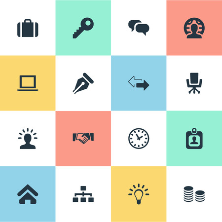 Vector Illustration Set Of Simple Commerce Icons. Elements Partnership, Password, Bulb And Other Synonyms Laptop, Relationship And Nib.