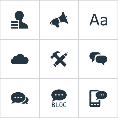 Vector Illustration Set Of Simple Blogging Icons. Elements Argument, Loudspeaker, Gain And Other Synonyms Phone, Typography And Megaphone. Illustration