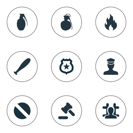 Vector Illustration Set Of Simple Offense Icons. Elements Narcotic, Explosive, Policeman Star And Other Synonyms Blaze, Bomb And Officer.