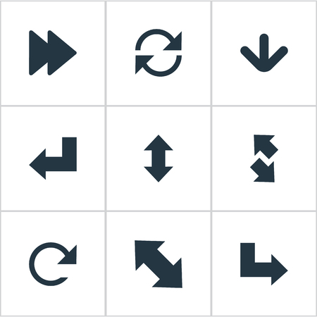Vector Illustration Set Of Simple Cursor Icons. Elements Circular, Down Up, Left Indication And Other Synonyms Down, Ahead And Recycle. Illustration