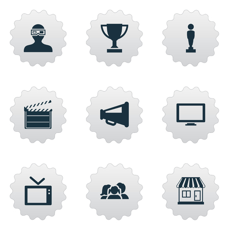 Vector Illustration Set Of Simple Cinema Icons. Elements Action, Grocery, Megaphone And Other Synonyms Loudspeaker, Audience And Screen.