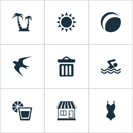 Vector Illustration Set Of Simple Beach Icons. Elements Bikini, Beach Games, Garbage And Other Synonyms Bikini, House And Sea.