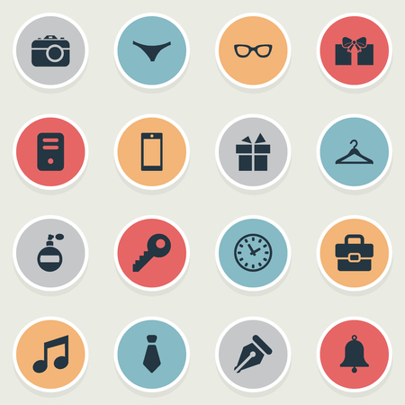 Vector Illustration Set Of Simple  Icons. Elements Hanger, Eyeglasses, Present And Other Synonyms Hanger, Underwear And Phone.