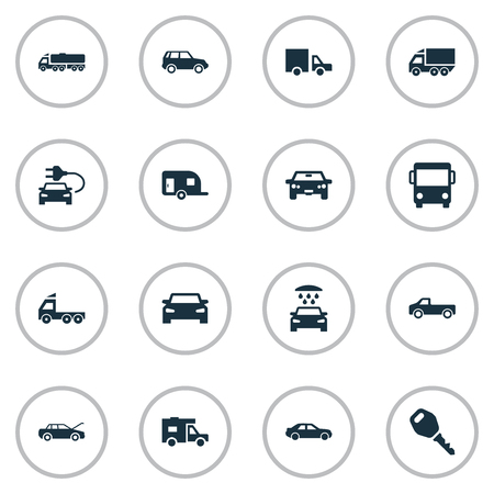 omnibus: Vector Illustration Set Of Simple Automobile Icons. Elements Vehicle, Key, Traffic And Other Synonyms Public, Shipment And Carriage.
