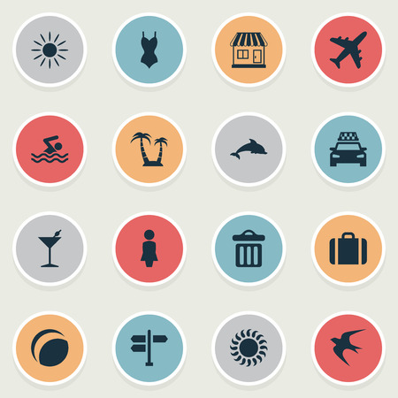 Vector Illustration Set Of Simple Seaside Icons. Elements Garbage, Bikini, Palm And Other Synonyms Baggage, Man And Freedom.