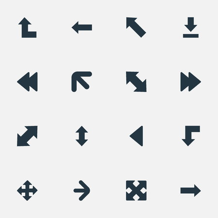 vertical orientation: Vector Illustration Set Of Simple Cursor Icons. Elements Pointer Up, Crossed Arrows, Slanted Arrow And Other Synonyms Raising, Forward And Reduction.