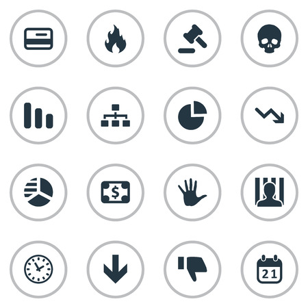 Vector Illustration Set Of Simple Trouble Icons. Elements Penitentiary, Tribunal, Line Chart And Other Synonyms Cursor, Calendar And Reminder.