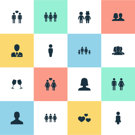 Vector Illustration Set Of Simple Couple Icons. Elements Gay, Heart, Wineglass And Other Synonyms Men, Barrister And Alternative.