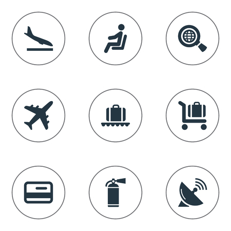Vector Illustration Set Of Simple Travel Icons. Elements Luggage Carousel, Antenna, Seat And Other Synonyms Airplane, Earth And Cart.