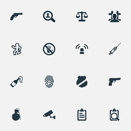 Vector Illustration Set Of Simple Crime Icons. Elements Investigation, Touch Forbidden, Siren And Other Synonyms Weapon, Signal And Inoculation. Illustration