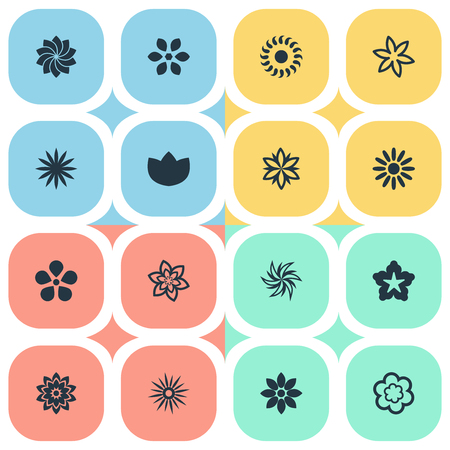 Vector Illustration Set Of Simple Flower Icons. Elements Delphinium, Morning Glory, Lilac And Other Synonyms Rose, Sunflower And Laurel.